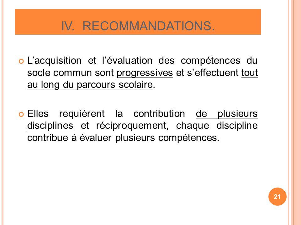IV. RECOMMANDATIONS.
