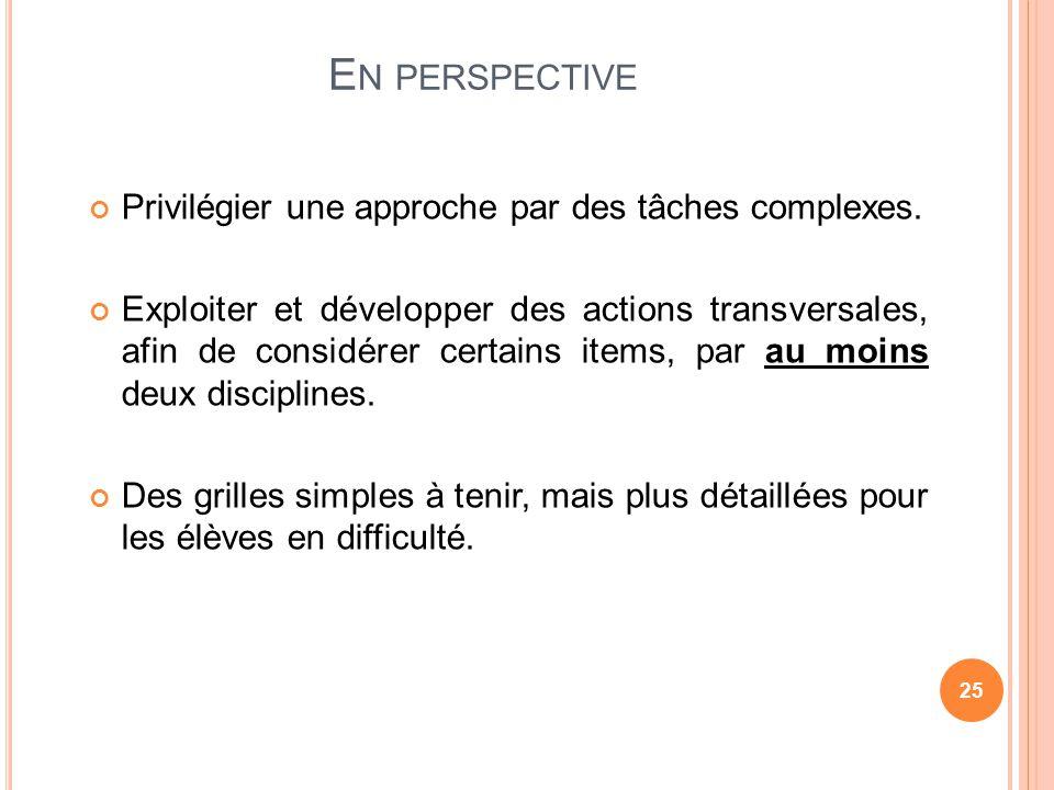 En perspective Privilégier une approche par des tâches complexes.