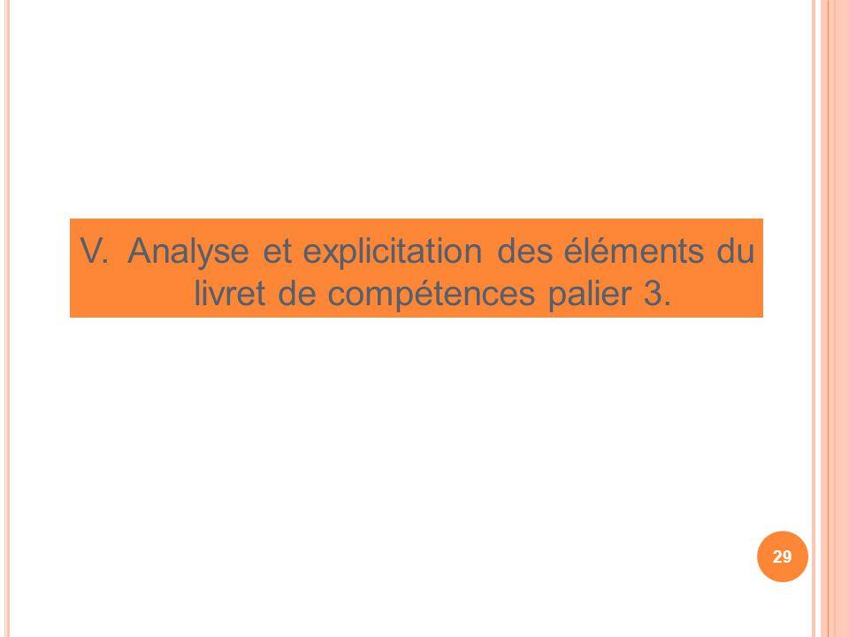 V. Analyse et explicitation des éléments du livret de compétences palier 3.