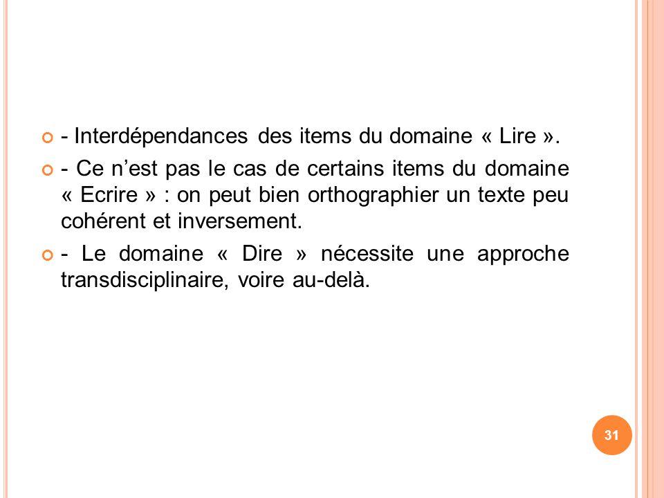 - Interdépendances des items du domaine « Lire ».