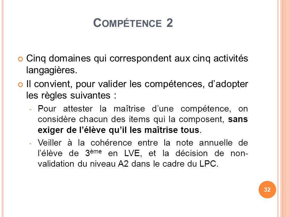 Compétence 2 Cinq domaines qui correspondent aux cinq activités langagières.