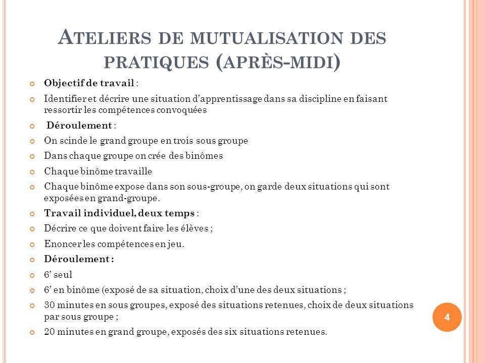 Ateliers de mutualisation des pratiques (après-midi)