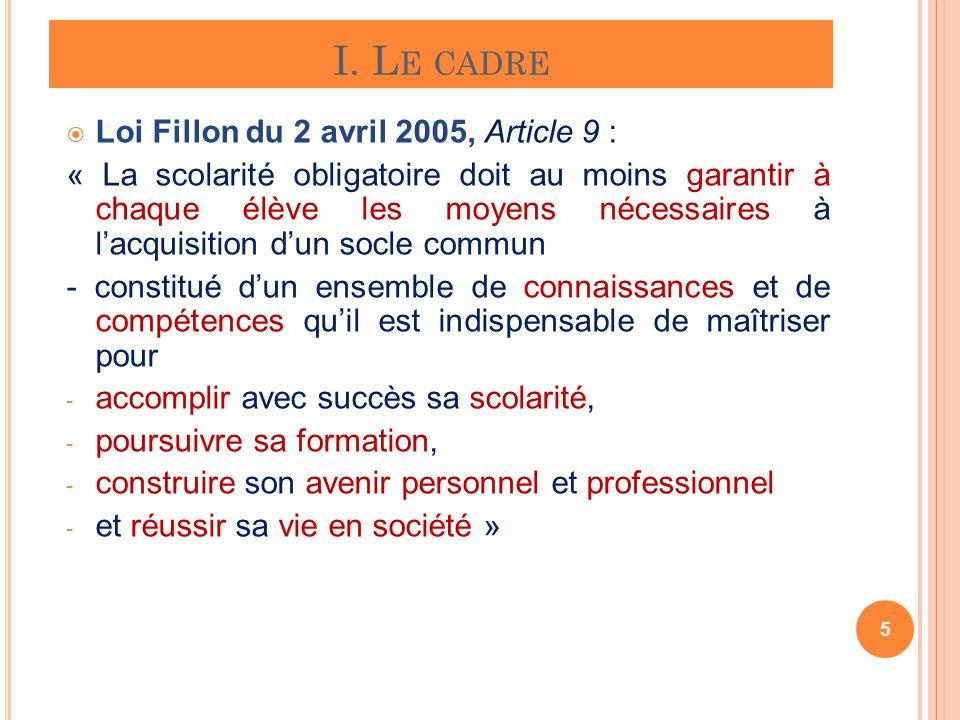 I. Le cadre Loi Fillon du 2 avril 2005, Article 9 :