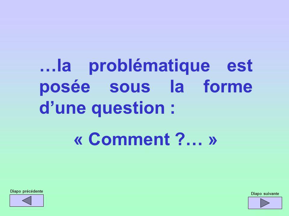 …la problématique est posée sous la forme d'une question :