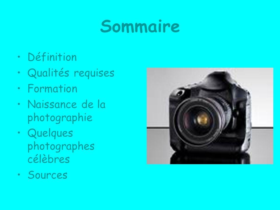 Sommaire Définition Qualités requises Formation