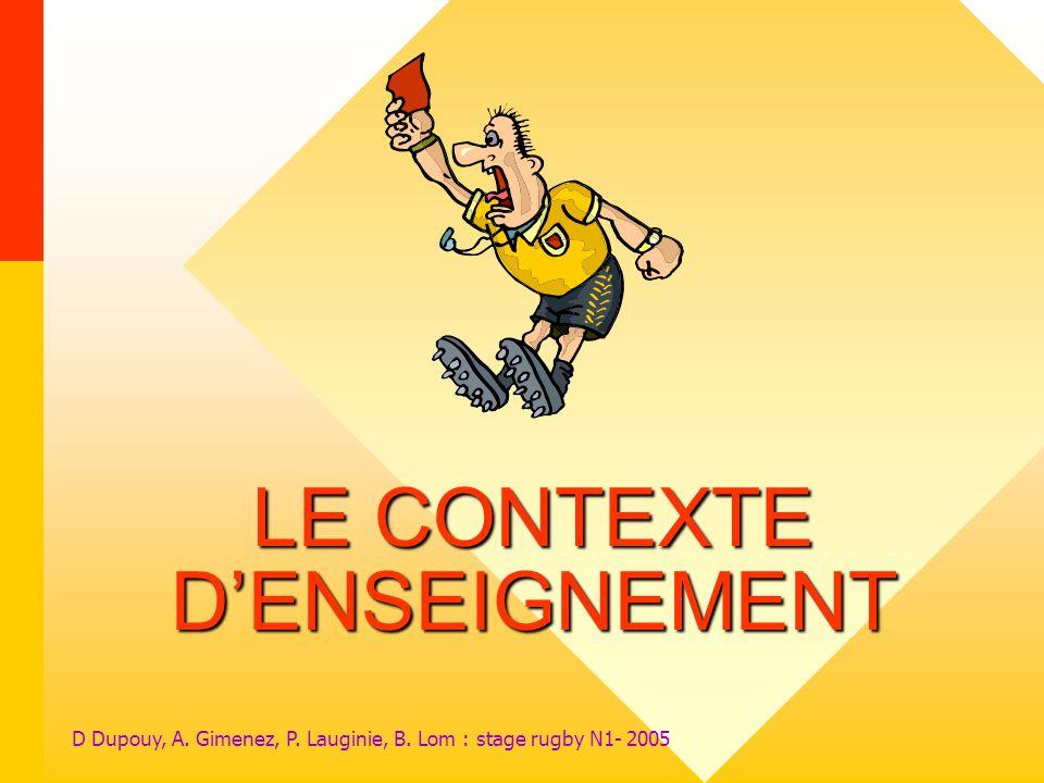 LE CONTEXTE D'ENSEIGNEMENT