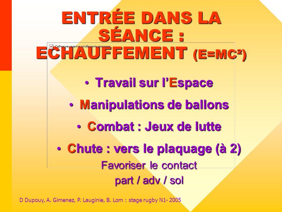 ENTRÉE DANS LA SÉANCE : ECHAUFFEMENT (E=MC²)