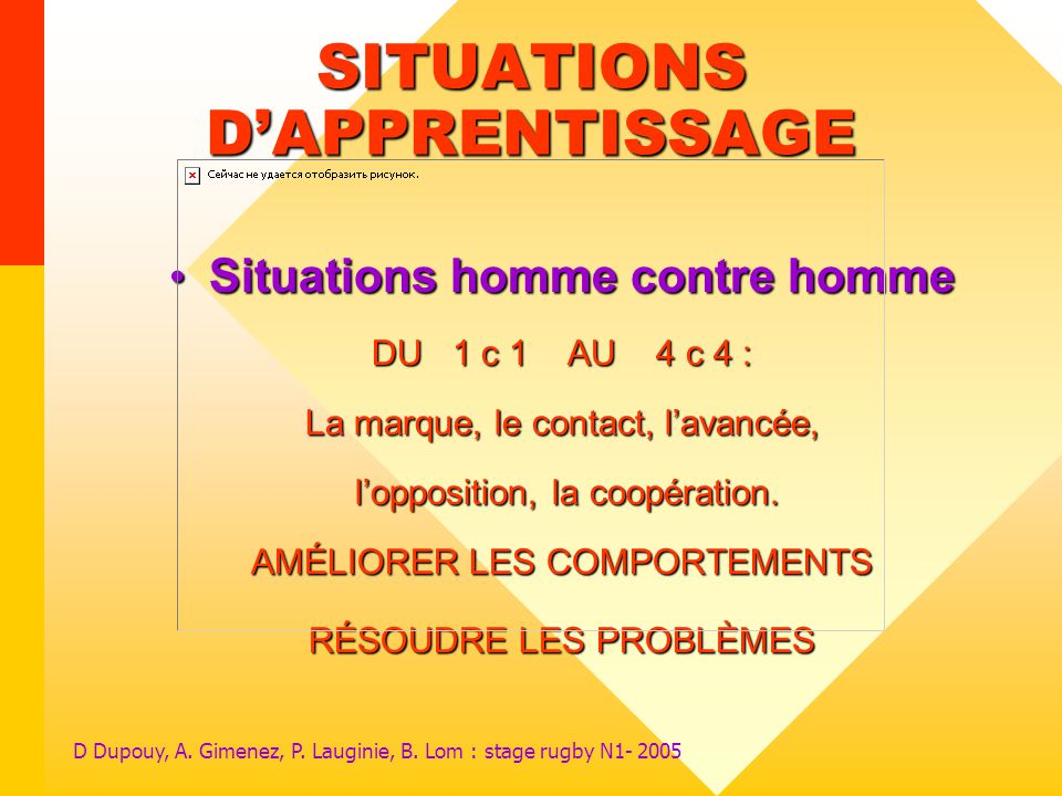 SITUATIONS D'APPRENTISSAGE