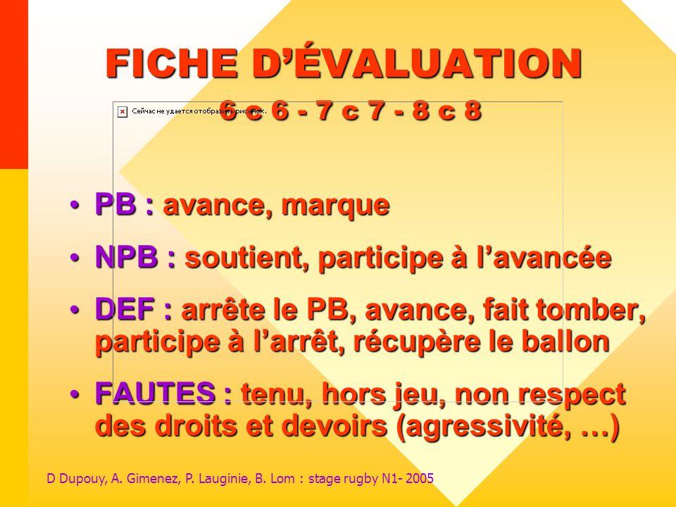 FICHE D'ÉVALUATION 6 c 6 - 7 c 7 - 8 c 8