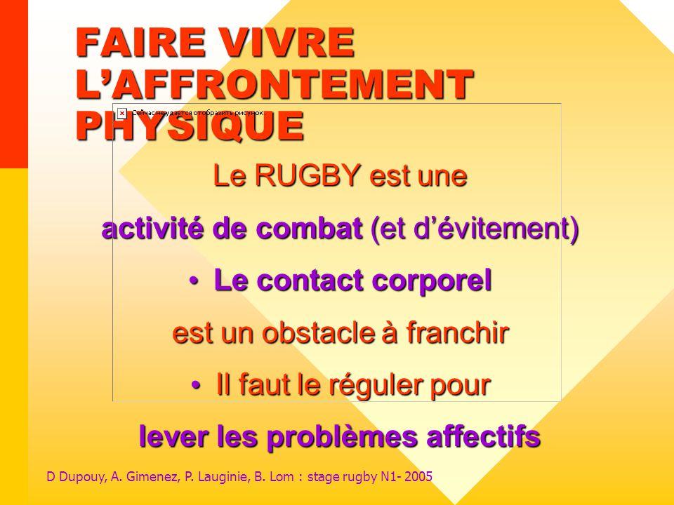 FAIRE VIVRE L'AFFRONTEMENT PHYSIQUE