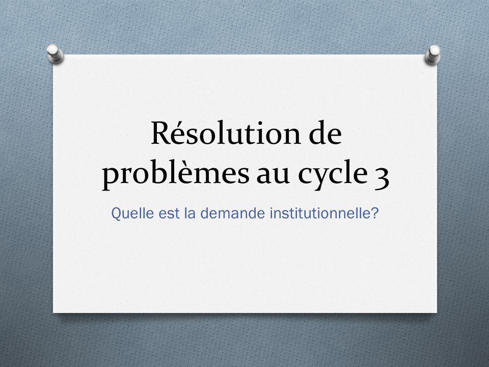 Résolution de problèmes au cycle 3