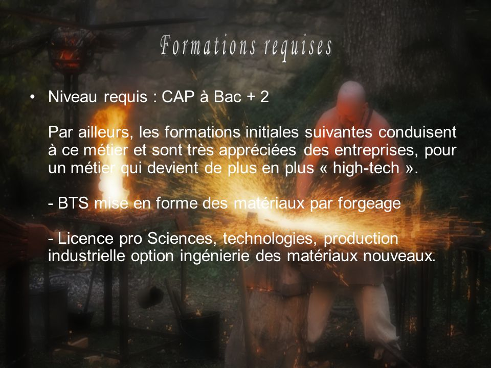 Formations requises