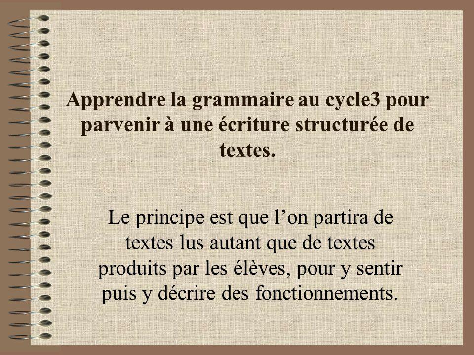 Apprendre la grammaire au cycle3 pour parvenir à une écriture structurée de textes.
