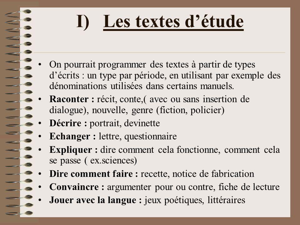 I) Les textes d'étude