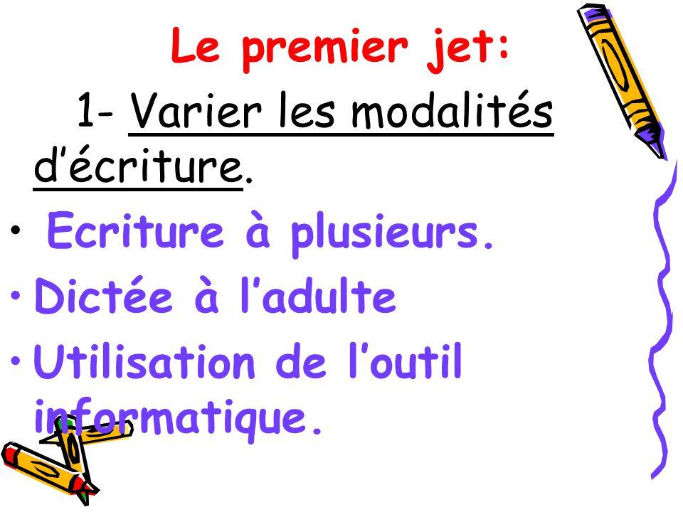 Le premier jet: 1- Varier les modalités d'écriture.