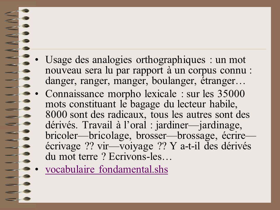 Usage des analogies orthographiques : un mot nouveau sera lu par rapport à un corpus connu : danger, ranger, manger, boulanger, étranger…