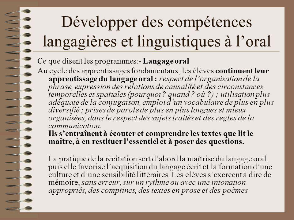 Développer des compétences langagières et linguistiques à l'oral