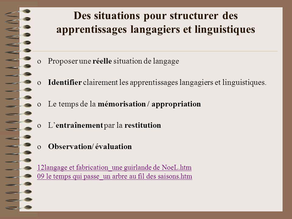Des situations pour structurer des apprentissages langagiers et linguistiques