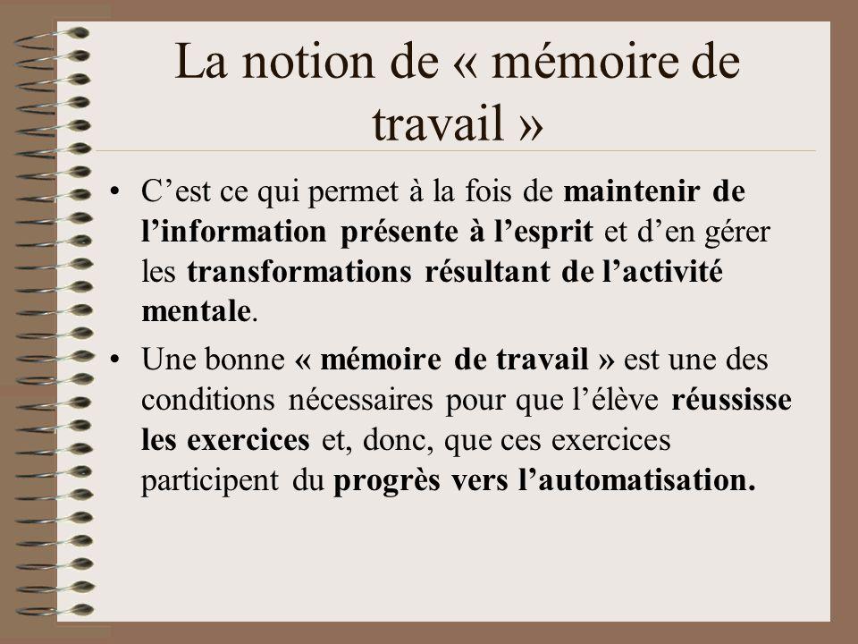 La notion de « mémoire de travail »