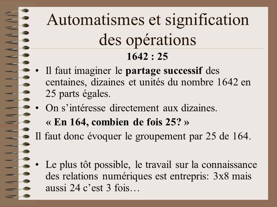 Automatismes et signification des opérations
