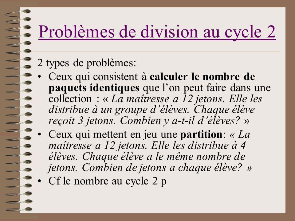 Problèmes de division au cycle 2