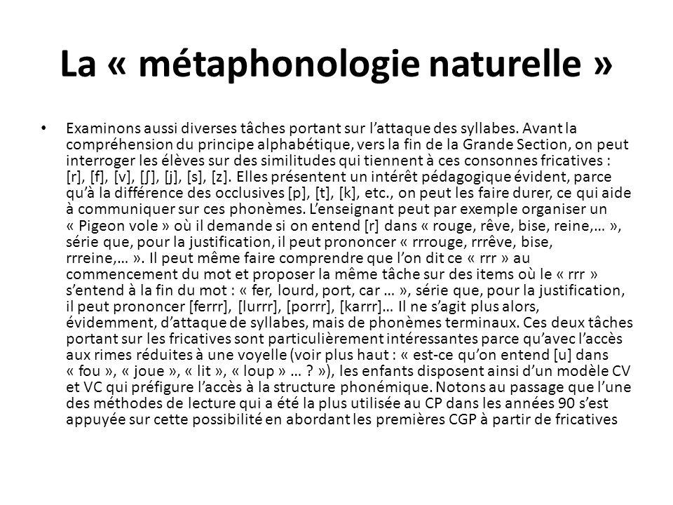 La « métaphonologie naturelle »