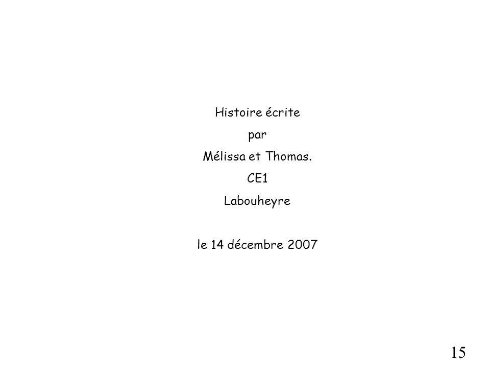 Histoire écrite par Mélissa et Thomas. CE1 Labouheyre le 14 décembre 2007