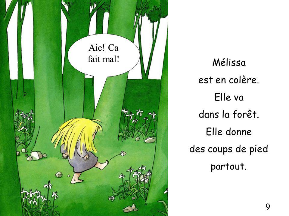 Aie! Ca fait mal! Mélissa. est en colère. Elle va. dans la forêt. Elle donne. des coups de pied.
