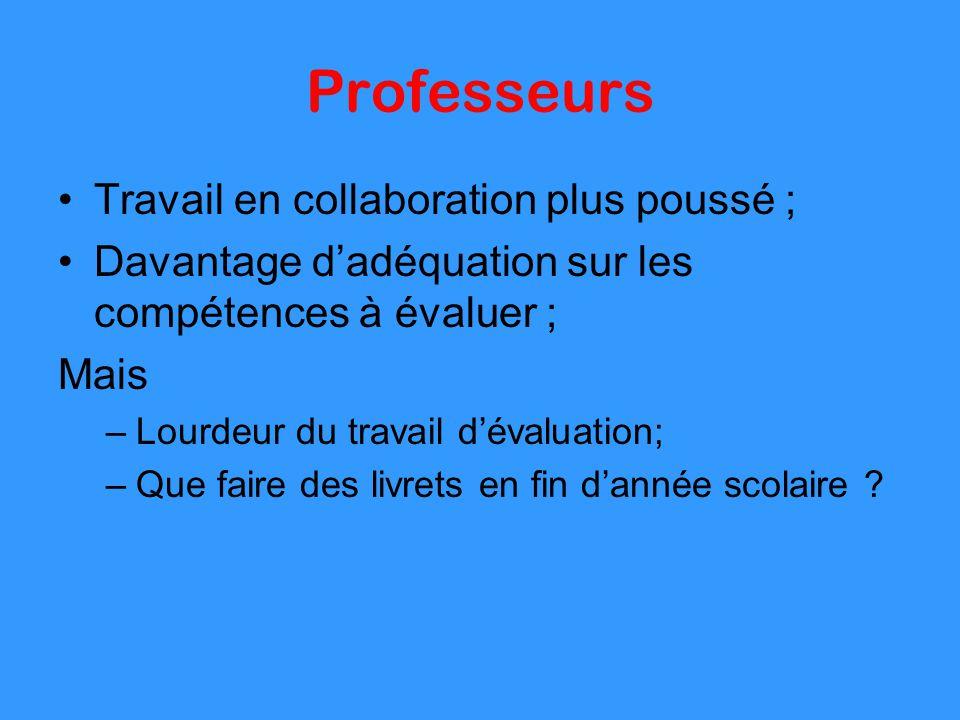 Professeurs Travail en collaboration plus poussé ;