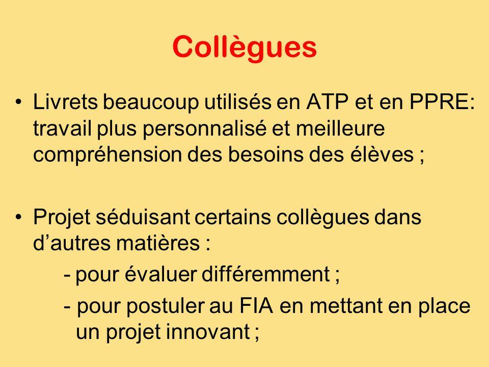 Collègues Livrets beaucoup utilisés en ATP et en PPRE: travail plus personnalisé et meilleure compréhension des besoins des élèves ;