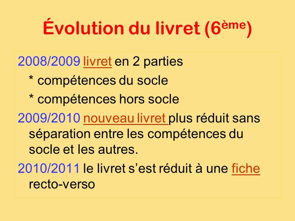 Évolution du livret (6ème)