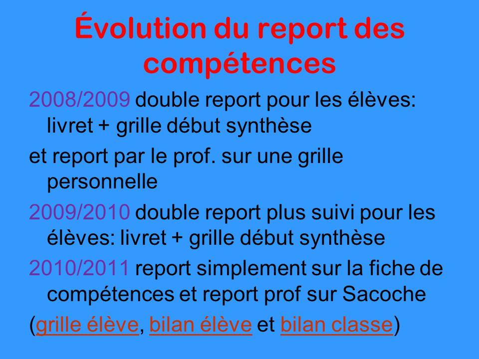 Évolution du report des compétences