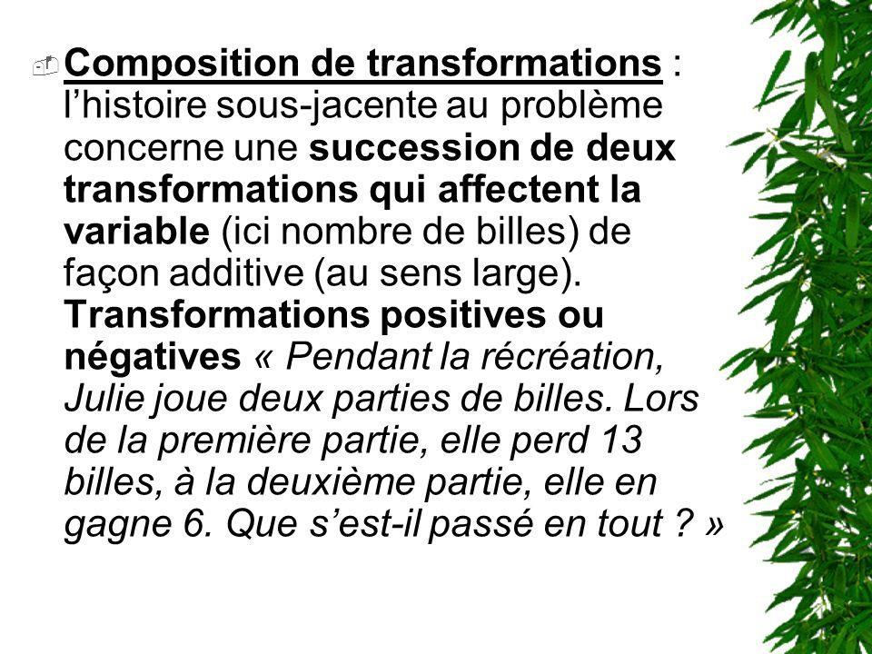 Composition de transformations : l'histoire sous-jacente au problème concerne une succession de deux transformations qui affectent la variable (ici nombre de billes) de façon additive (au sens large).