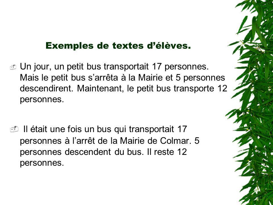 Exemples de textes d'élèves.
