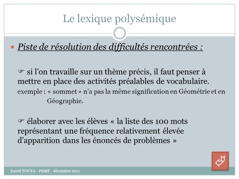 Le lexique polysémique