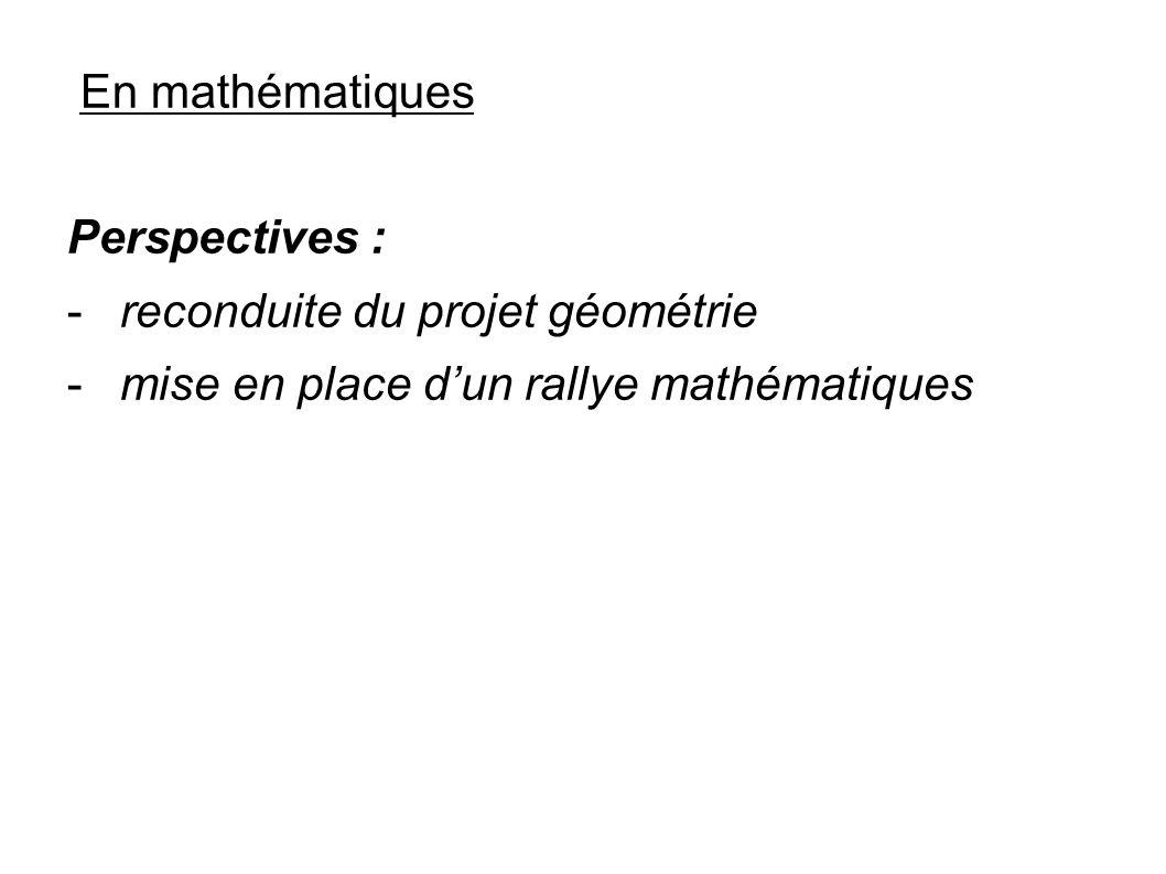 En mathématiques Perspectives : reconduite du projet géométrie.