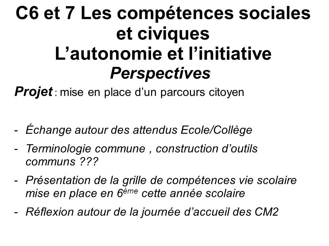 C6 et 7 Les compétences sociales et civiques