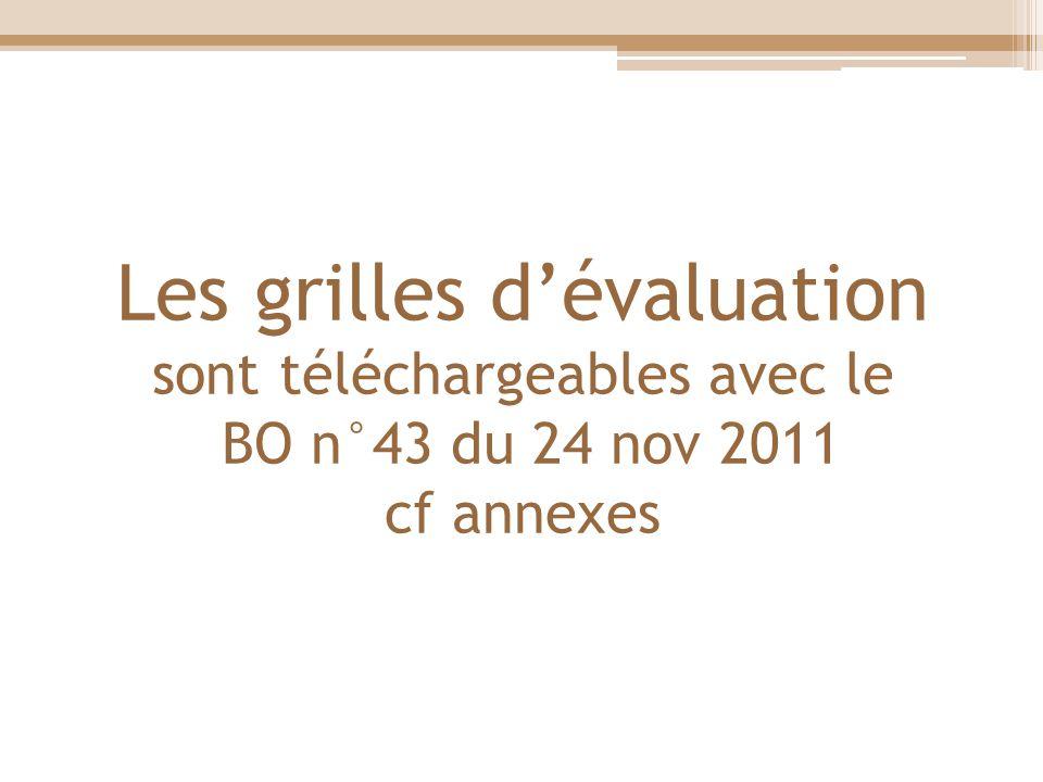 Les grilles d'évaluation sont téléchargeables avec le BO n°43 du 24 nov 2011 cf annexes