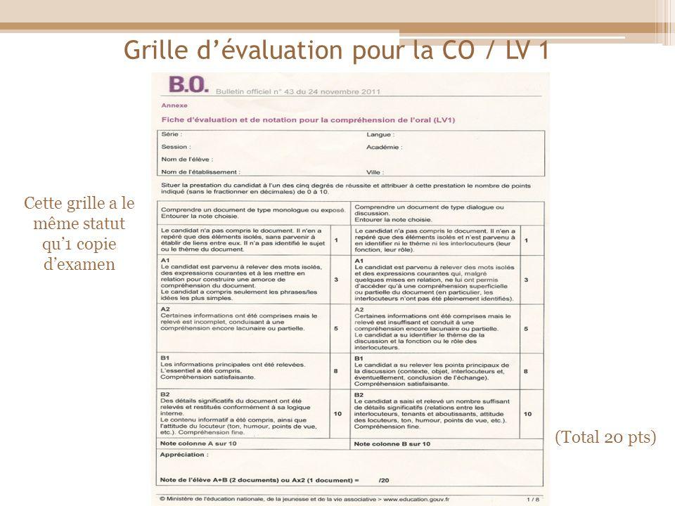 Grille d'évaluation pour la CO / LV 1
