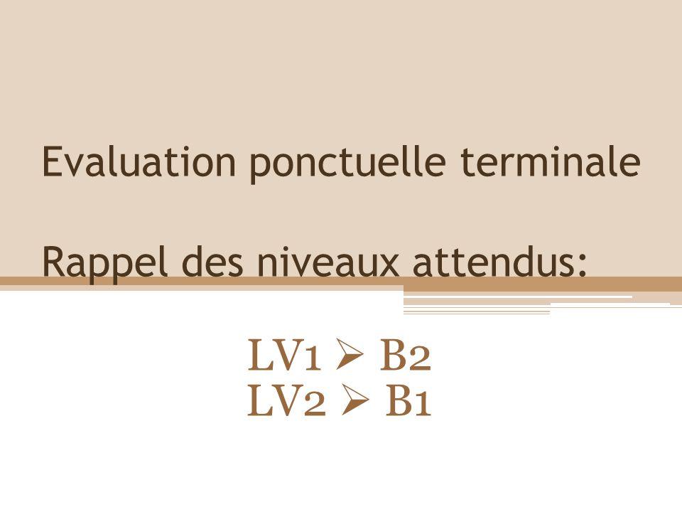 Evaluation ponctuelle terminale Rappel des niveaux attendus:
