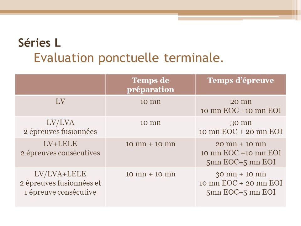 Séries L Evaluation ponctuelle terminale.
