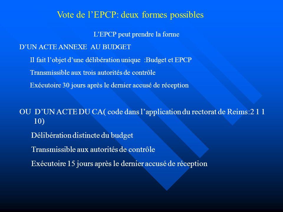 Vote de l'EPCP: deux formes possibles