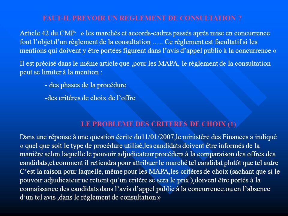 FAUT-IL PREVOIR UN REGLEMENT DE CONSULTATION