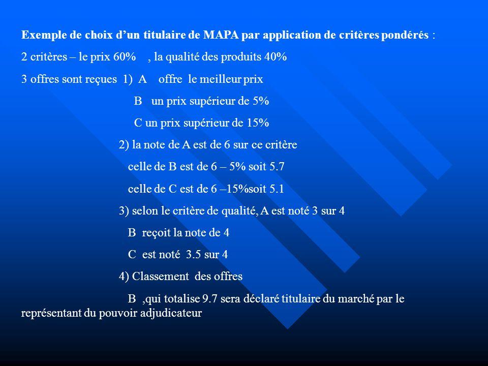 Exemple de choix d'un titulaire de MAPA par application de critères pondérés :