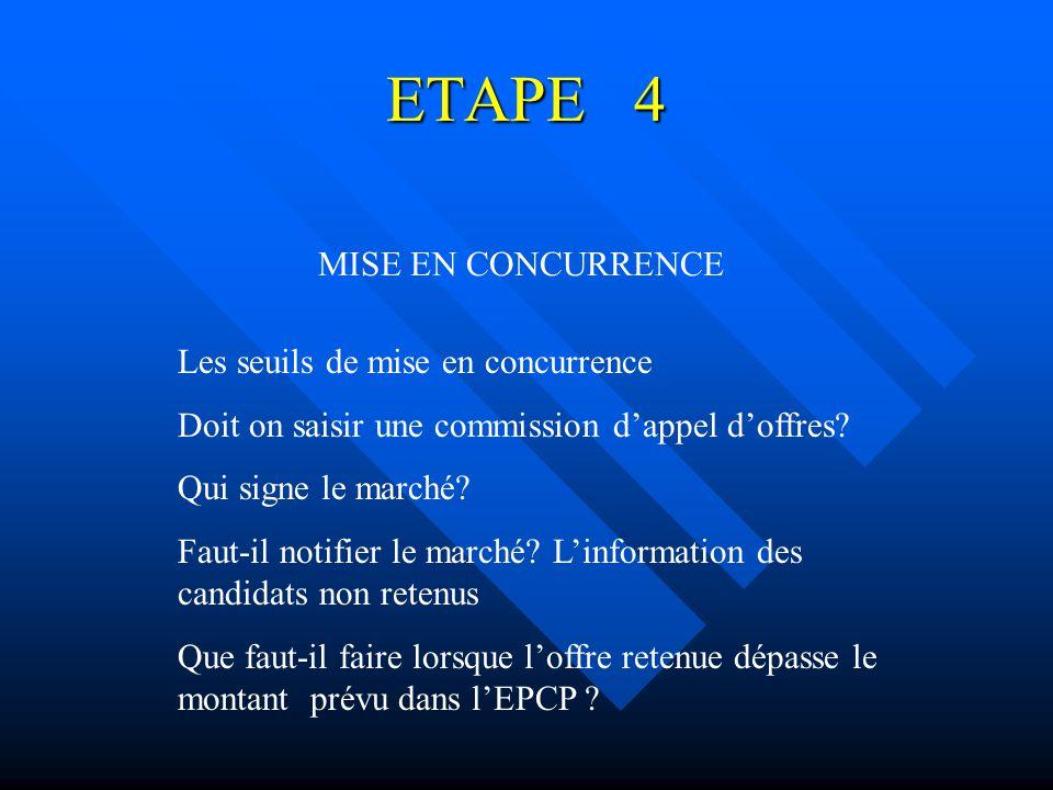 ETAPE 4 MISE EN CONCURRENCE Les seuils de mise en concurrence