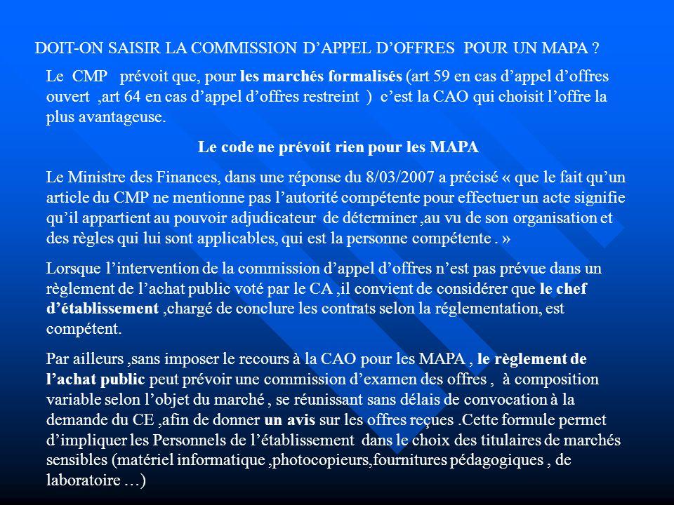 DOIT-ON SAISIR LA COMMISSION D'APPEL D'OFFRES POUR UN MAPA