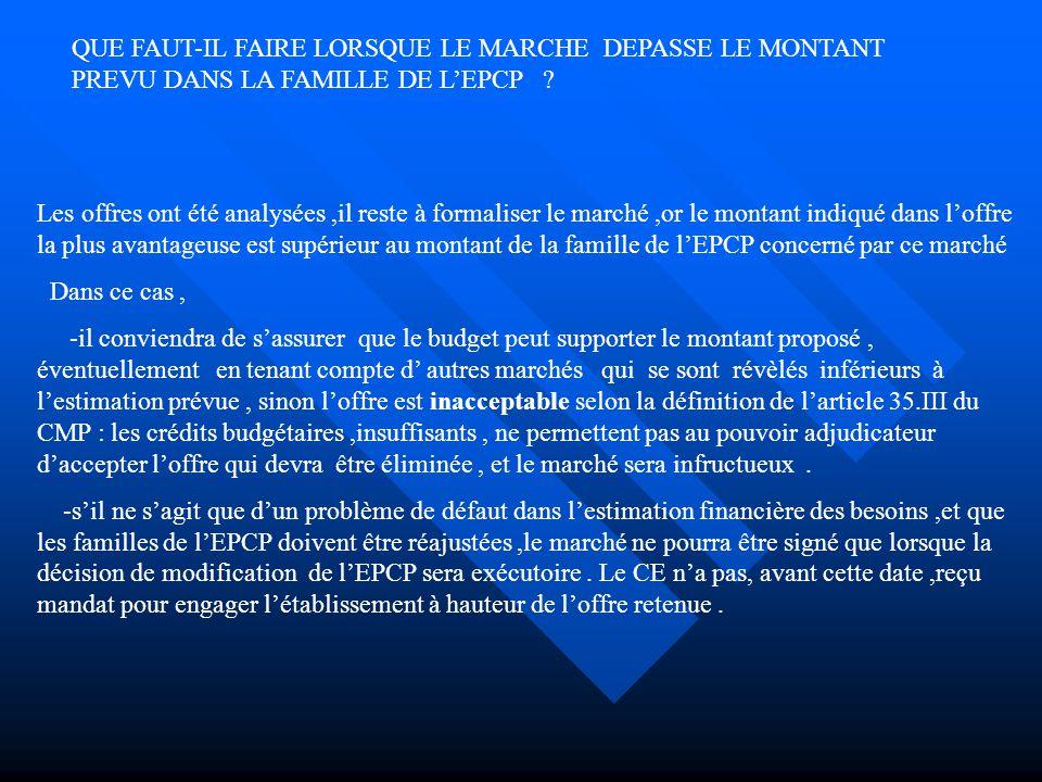 QUE FAUT-IL FAIRE LORSQUE LE MARCHE DEPASSE LE MONTANT PREVU DANS LA FAMILLE DE L'EPCP