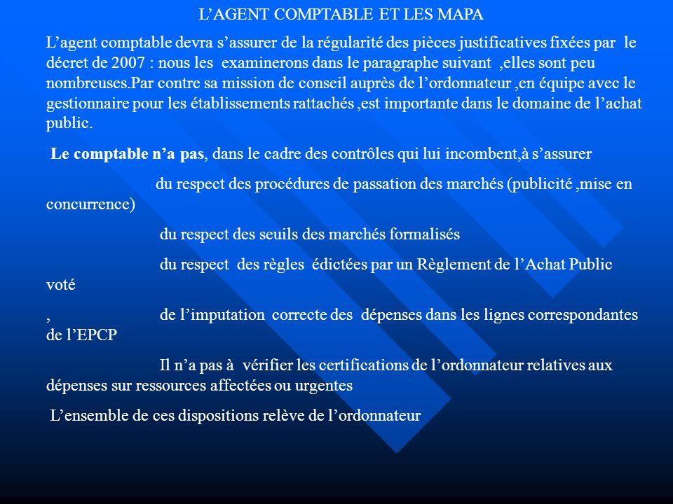 L'AGENT COMPTABLE ET LES MAPA