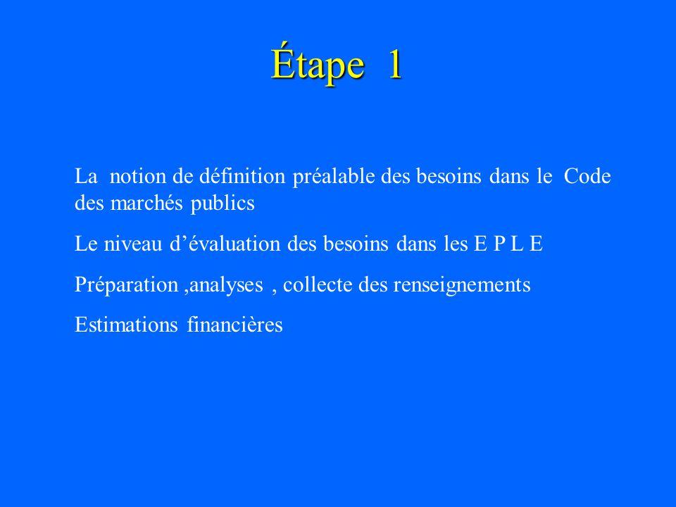 Étape 1 La notion de définition préalable des besoins dans le Code des marchés publics. Le niveau d'évaluation des besoins dans les E P L E.