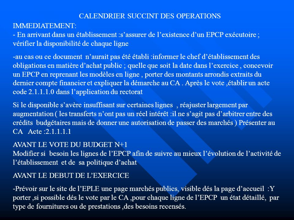 CALENDRIER SUCCINT DES OPERATIONS